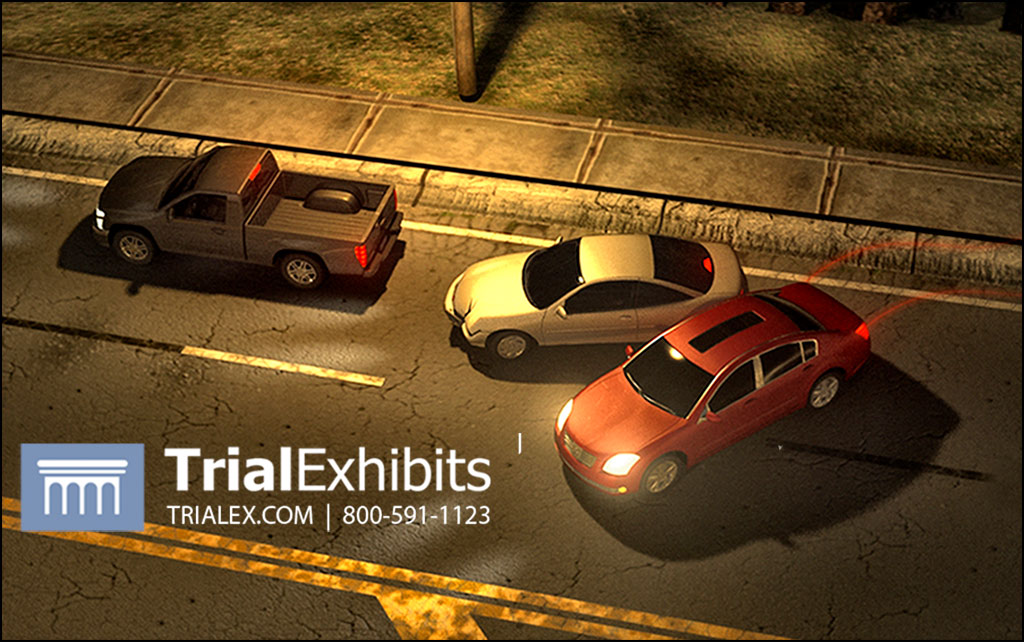 Overhead 3D animation image showing 3 cars in an accident at night.